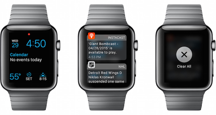 Photo of a variety of notifications on the face of the Apple Watch
