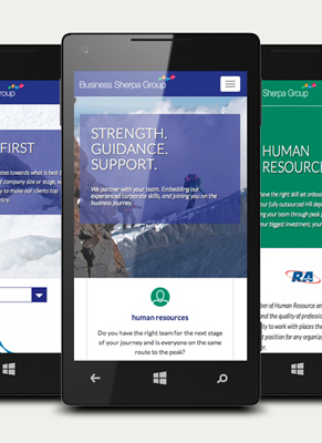 Business sherpa group website on mobile devices
