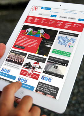 Paralympic website on a tablet device