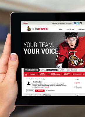 Senators fan council on a tablet device