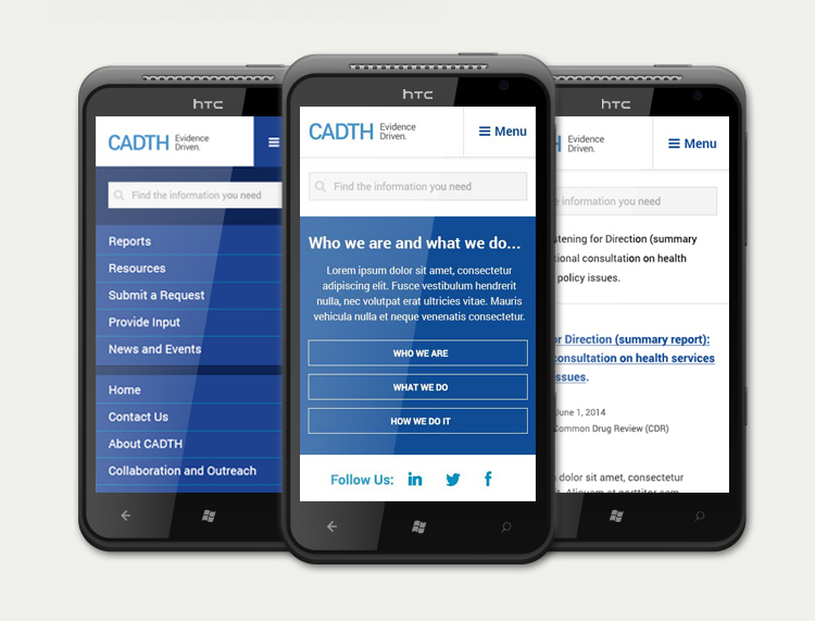 CADTH website, mobile view