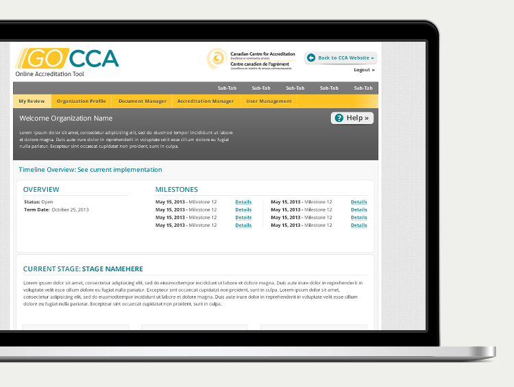 Canadian Centre for Accreditation Online Accreditation Tool, desktop view.