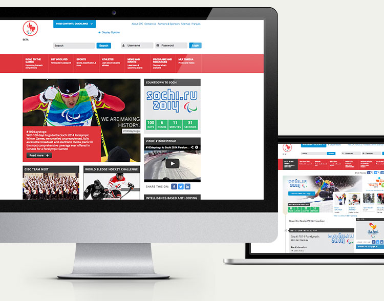 Canadian Paralympic Committee website, desktop view
