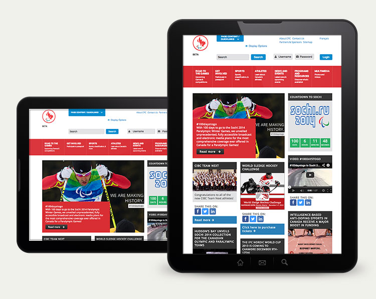Screen shot of the paralympic.ca website