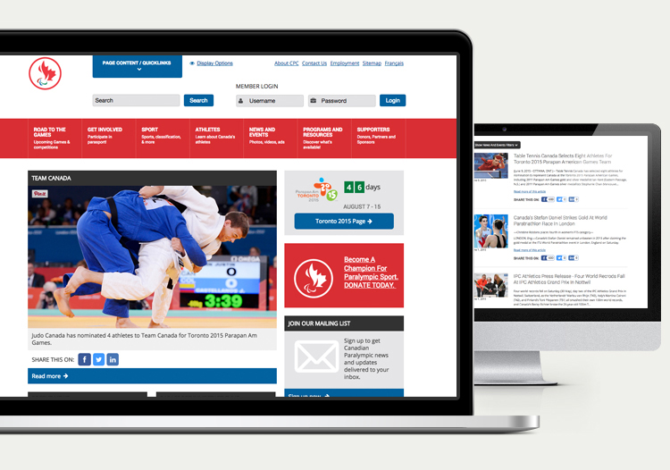 The Paralympic.ca website on a desktop