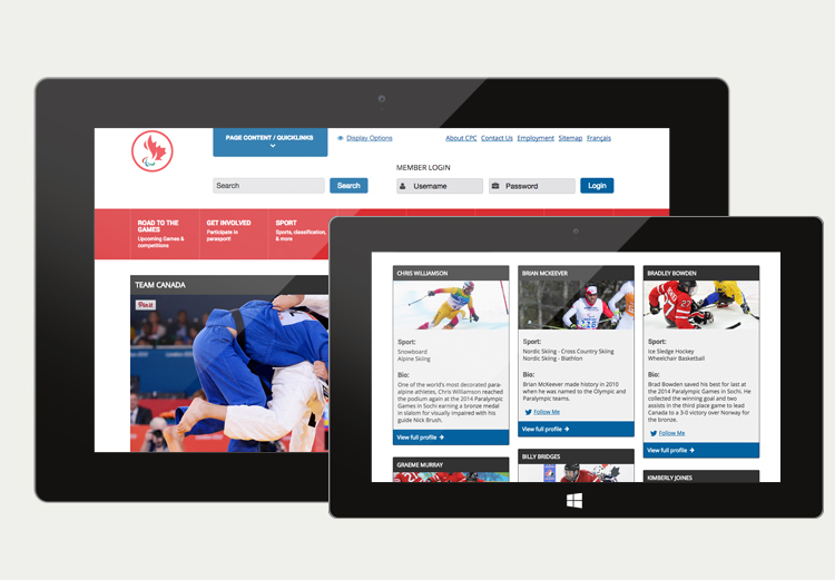 The Paralympic.ca website on a tablet