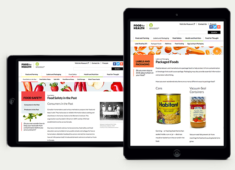 Food for Health website tablet view.