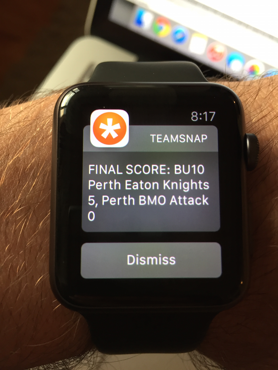 Photo of the Team Snap notification appearing on my Apple Watch