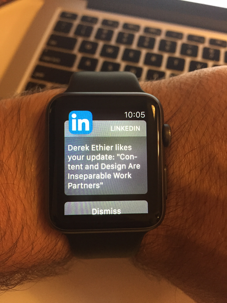 Photo of the LinkedIn notification on an Apple Watch