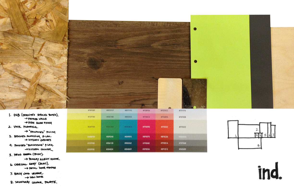 Materials and colours for the Industrial office space