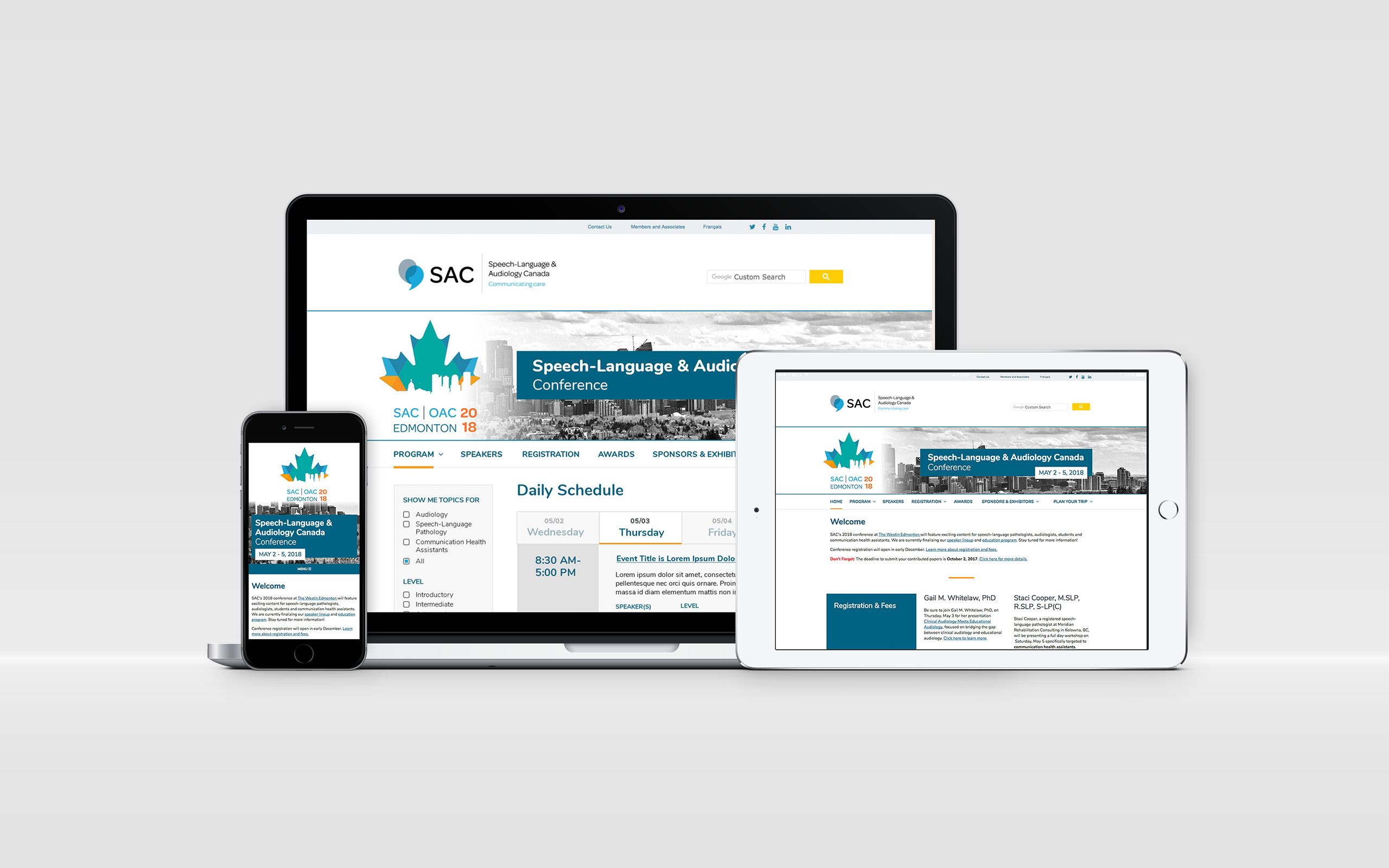 SAC Conference Site website displayed on different devices, demonstrating its ability to adapt to many screens