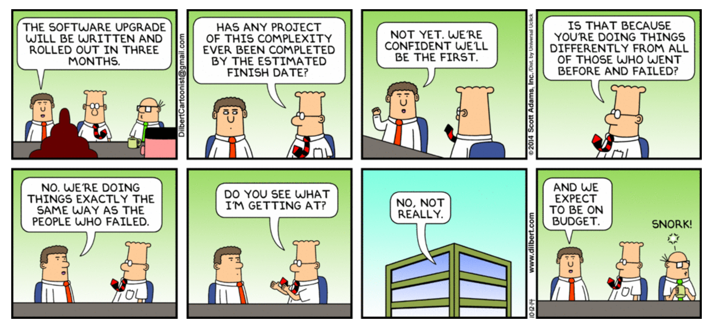 Project Management - Expecting Different Outcome Doing the Same Thing