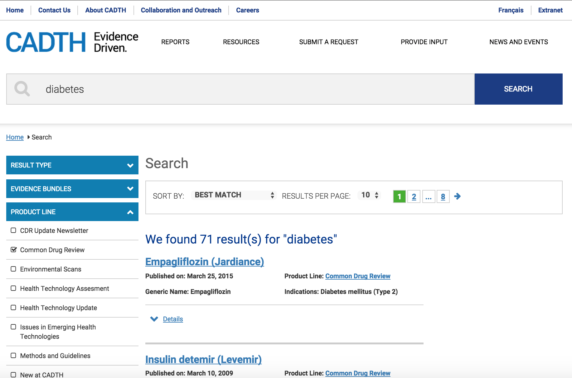 CADTH website search screen shot