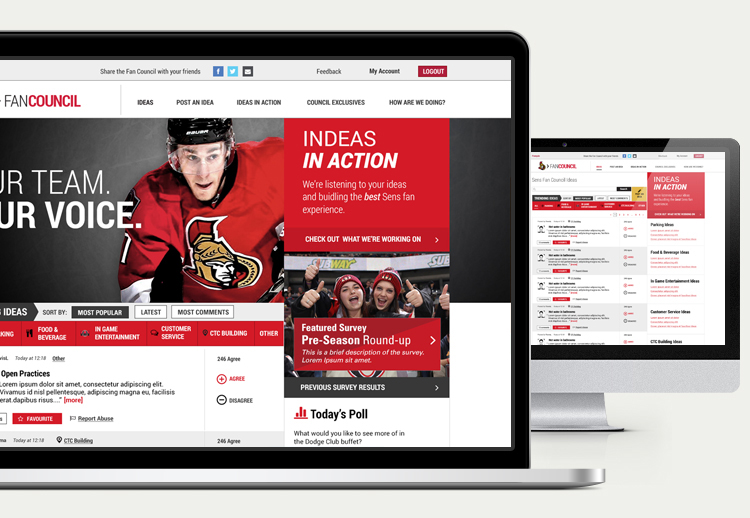 Ottawa Senators Fan Council Website, desktop view
