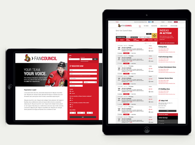 Screen shot of the Sens Fan Council website