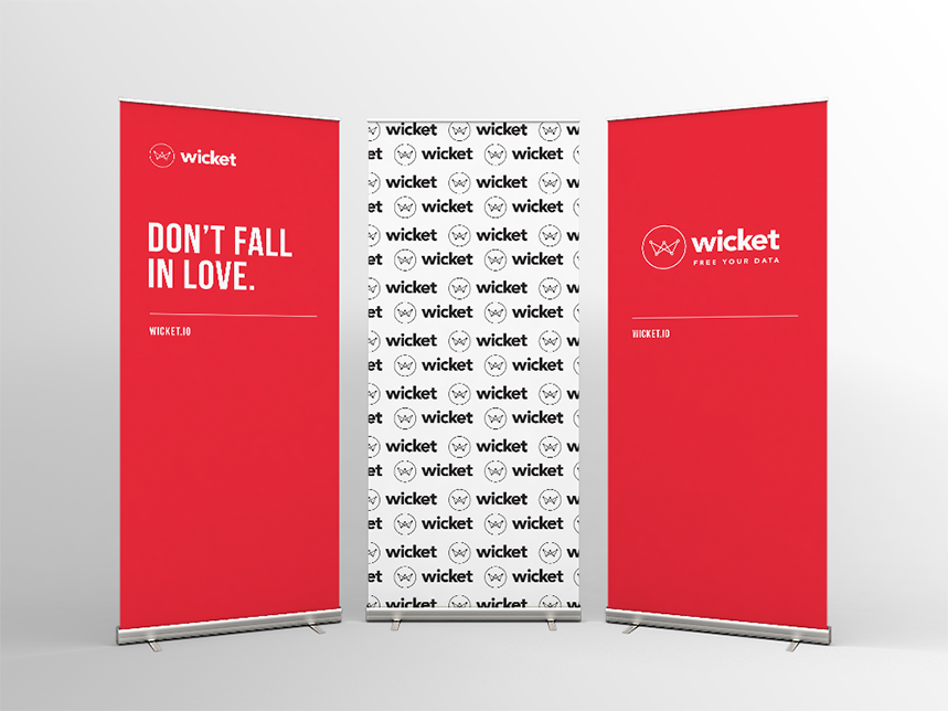 Wicket trade show roll-up banners