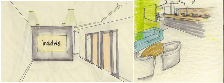 Original design drawings for the Industrial office space