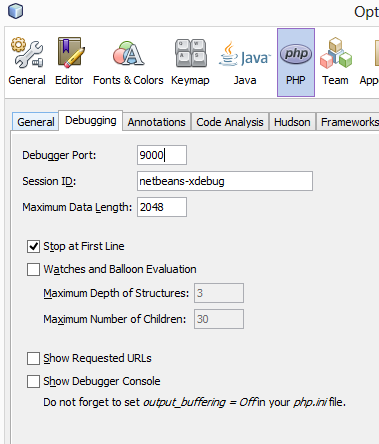 Xdebug config within Netbeans