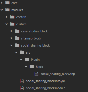 directory structure for the social block module