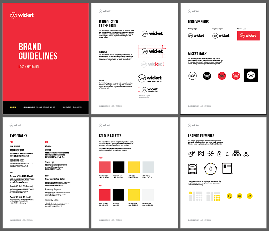 Samples from the wicket brand guidelines showing fonts, colours and icons